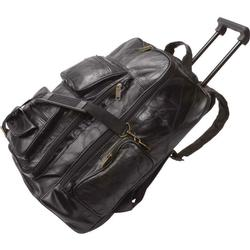 Black Leather Rolling Trolley Carry On Luggage