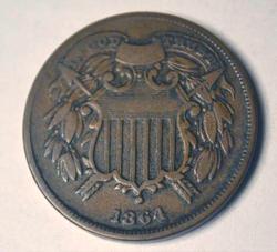 Semi Key 1864 Small Motto 2 Cent