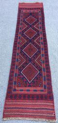 Rare & Unusual 1960s Narrow Runner Authentic Handmade Persian Qazi-Dokhtar