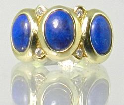 Pretty Lapis & Diamond Ring
