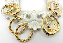 Detailed Set of 4 14kt Gold Hoop Earrings