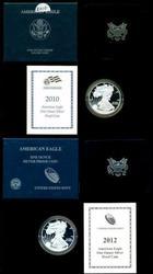 2010 & 2012 American Proof Silver Eagles Box/COAs