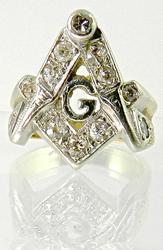 Vintage Mans Masonic Ring with Diamonds
