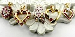 Five 14k Ruby & Diamond Pendants