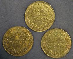Three 100 Kurush Turkish Gold Coins