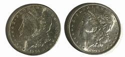 1901 O and 1902 O Frosty White  Morgans