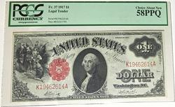 $1 1917 US Note in a PCGS Ch about New 58 PPQ