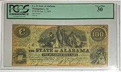 Alabama $100 note Jan 1 1864  CSA VF 30 PCGS