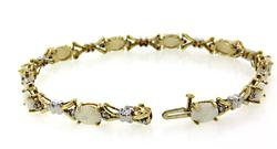 Opal & Diamond Two Tone Bracelet