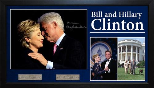 Bill + Hilary Clinton Autographed Signed Photo Display