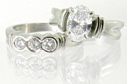 Platinum Oval Diamond Wedding Set