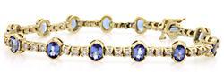 Elegant Tanzanite & Diamond 8ctw Bracelet, 14kt