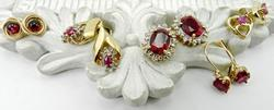 5 Pairs of Gold and Ruby/Garnet Earrings