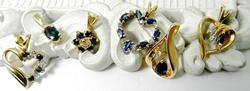 6 Sapphire & Diamond 14K Pendants