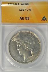 Near Mint 1927-D Peace Silver Dollar. ANACS AU53