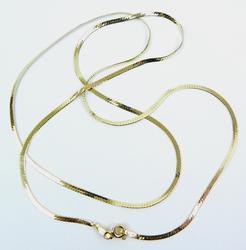 Italian 18K Gold 24 Inch Flat Herringbone Chain