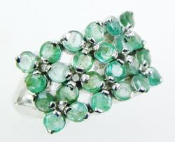 Wide Sterling Band of 24 Columbian Emeralds