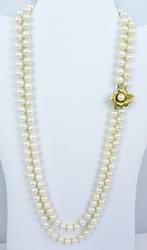 Long Double Strand Pearl Necklace, 14K Flower Clasp