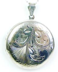 Large Sterling Engraved Locket & Chain