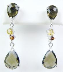 Long Sterling Gemstone Pierced Earrings