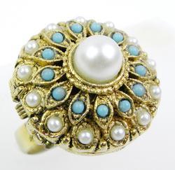 Vintage Perfume Solid Jeweled Ring