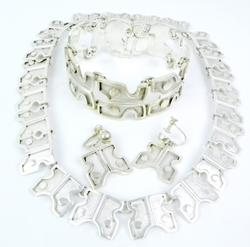 Early Signed Sterling Taxco Jewelry Set