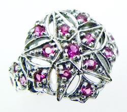 Sterling Pink Topaz Star Ring