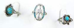3 Vintage Native American Sterling Turquoise Rings