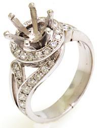 Diamond Halo Setting Ring in 18KT