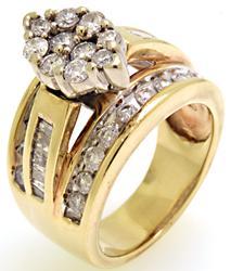 Amazing 3 Row Diamond Cluster Ring
