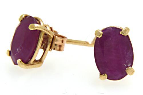 Elegant 2ctw Ruby Pair of Stud Earrings, 10kt
