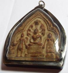 Antique Cambodian Buddha Amulet W/buddhist Devotees