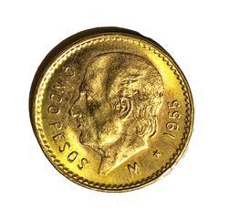 1955 Gem  BU 5 Pesos Mexico Gold