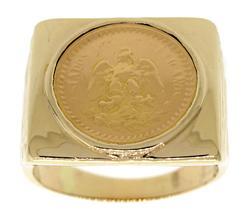 Dos Pesos 1945 Men's 14kt Gold Coin Ring