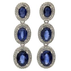 Fabulouse 6+ctw Sapphire & Diamond 14kt Gold Earrings