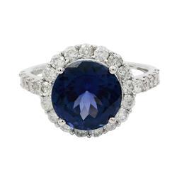 High Quality 7+ctw Tanzanite & Diamond Ring in 14kt Gol
