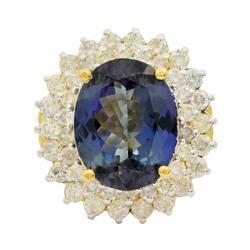 High Quality Large 6+ctw Tanzanite & Diamond Ring