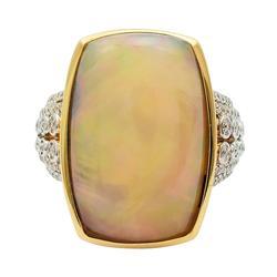 Phenomenal Opal & Diamond Ring in 14kt Gold Ring