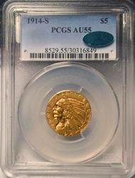1914 S $5 Indian Gold Half Eagle in AU55 PCGS/CAC