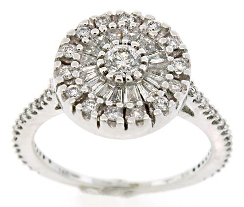 Diamond Cluster Ring with Rounds and Baguettes