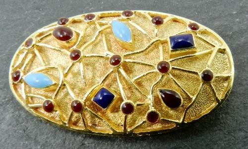 Colorful Modern 18K Yellow Gold Brooch
