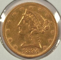 Beautiful Near Mint 1894 US $5 Liberty Gold Piece