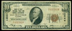 Scarce 1929 Series $10 National of San Fran, CA (13044)