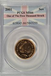 Superb Gem BU 2001 British Gold Sovereign. PCGS MS66