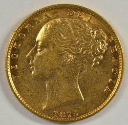 Super Nice 1875-S Australia 'Young Head' Gold Sovereign