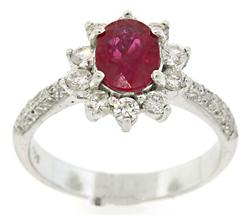 1.25 CTW Ruby & Multi Diamond Ring in 18K