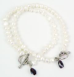 2 Freshwater Pearl Bracelets with Garnet Dangles