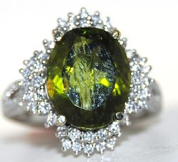 Large 6+ctw Green Tourmaline & Diamond Ring, 18kt
