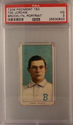1909 T206 Tim Jordan Piedmont Back PSA 3