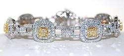Impressive 7+ctw Yellow & White Diamond Bracelet